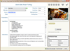 Screenshot: recipe form