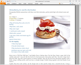 Screenshot: Export cookbooks as PDF files