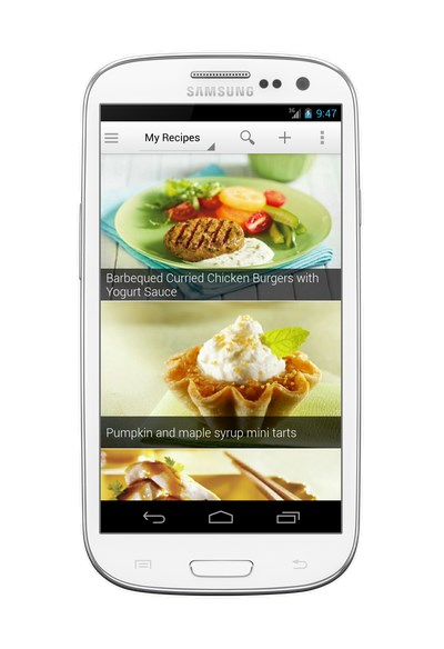 Recipe browser on an Android phone