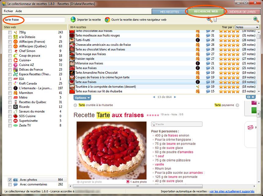 Section nouvelles logiciel le collectionneur de recettes for Logiciel pour cuisine gratuit